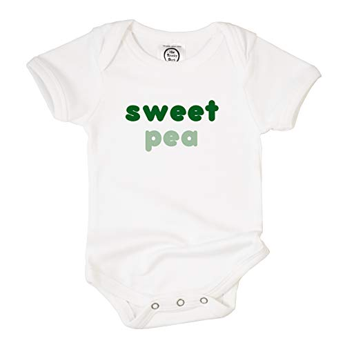 The Spunky Stork Sweet Pea Organic Cotton Baby Bodysuit (3-6M) White (Sweet Pea Announcements)