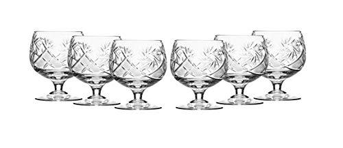 (6 Russian CUT Crystal Cognac Snifters 200ml/7oz Hand Made)