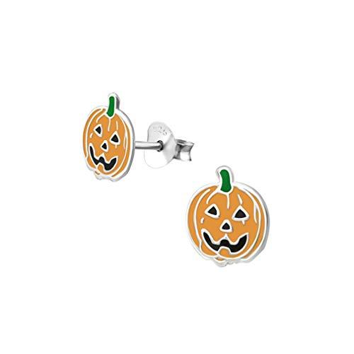 Liara - Clous d'oreilles colorés citrouille pour enfants Couleur argent sterling 925.Poli et sans ()