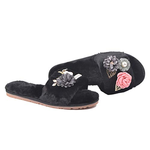 U-MAC Womens Warm Fur Lined House Slippers Wicking Soft Mushroom Coral Fleece with Hand-Made Ornamented Flip-Flops