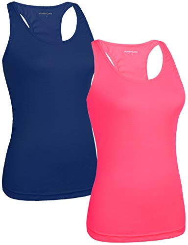 (Fastorm Women's 2 Pack Running Tank Tops for Women Active Racerback Dry Fit Tank Top Cerulean Blue-Neon Pink XL)