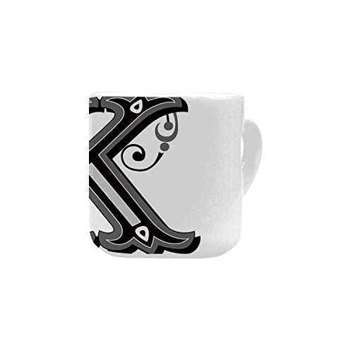 Letter K White Heart Shaped Mug,Uppercase K with a Design from Medieval Times Letter Sign Alphabet Pattern Decorative for Home,2.56