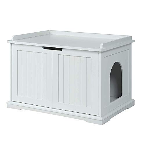 unipaws Designer Cat Washroom Storage Bench, Litter Box Cover, Sturdy Wooden Structure, Spacious Storage, Easy Assembly, Fit Most of Litter Box, White