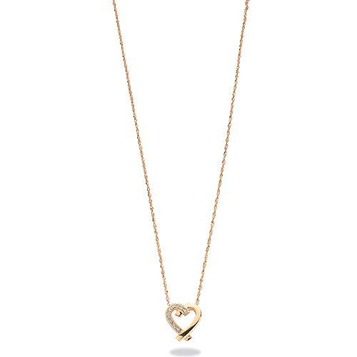 Or jaune 9ct 0.05CT Diamant Pendentif en forme de cœur avec chaîne 45,7cm/45cm Collier