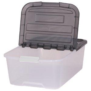 Juego de 3 cajas Sistema de ordenación, transparente, caja apilable con Comercio 45 litros, caja de plástico, caja con tapa - 45 L): Amazon.es: Hogar