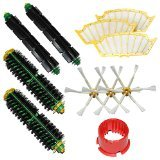 SHP-ZONE 2 Bristle Brushes & 2 Flexible Beater Brushes & 3 Side Brushes 6-Armed & 3 Filters & Brush Cleaning Tool Pack Mega Kit for iRobot Roomba 500 Series Roomba 510, 530, 535, 540, 560, 570, 580, 610 Vacuum Cleaning Robots all Green, Red, Black cleaning head