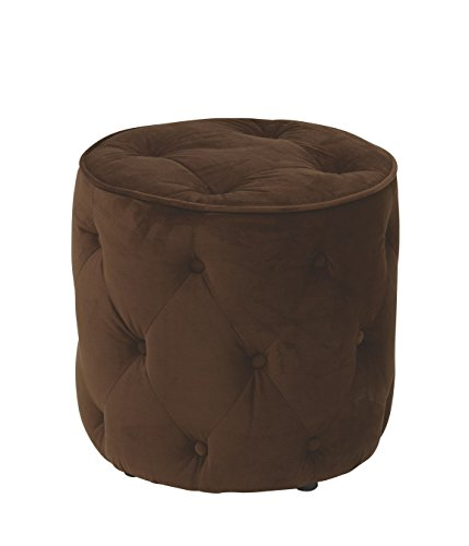 AVE SIX Curves Tufted Round Ottoman with Espresso Finish Solid Wood Legs, Chocolate Velvet Fabric