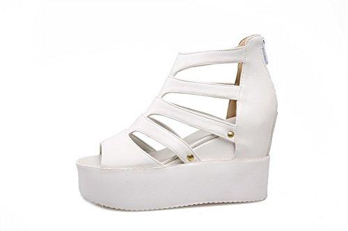 Amoonyfashion Femmes Peep Toe Talons Hauts Maille Legging Zipper Sandales Blanc