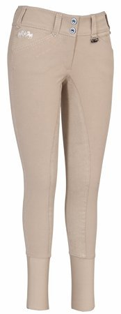 Equine Couture Women's Blakely Full Seat Breech with Contrast Saddle Stitch, Safari, (Safari Stitch)
