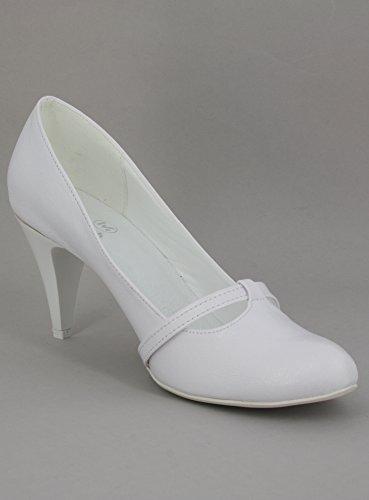Donna Cerimonia Bianco Da Di Con bianco Calzature Strass 4Fpqt