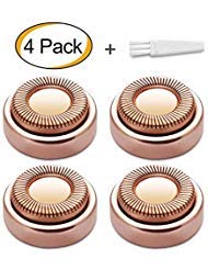 Facial Hair Remover Replacement Heads, Fit all Hair Remover Best Finishing and Soft Touch As Seen On TV, 18K Gold-Plated Rose Gold, 4 Count