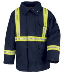 Bulwark Parka, Excel FR ComforTouch with Yellow/Silver/Yellow Stripe, Navy, RGS (Protective Bulwark Apparel)