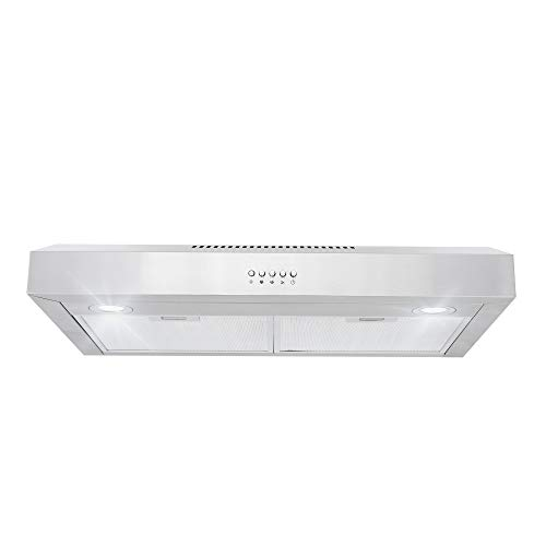 Cosmo 5U30 30-in Under-Cabinet Range Hood 250-CFM with Ducted/ Ductless Convertible Top/ Back Duct, Slim Kitchen Over Stove Vent LED Light, 3 Speed Exhaust Fan, Reusable Filter (Stainless Steel) ()