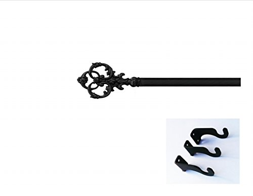 Village Wrought Iron CUR-127-130-S Victorian Curtain Rod - Extra Large - Wrought Iron Drapery