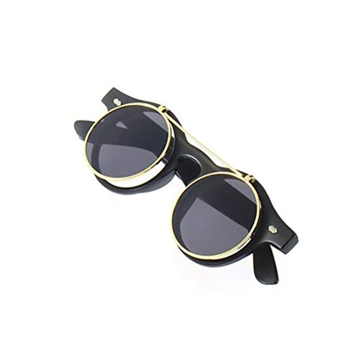 0020008130e Baynne Classic Steampunk Goth Glasses Goggles Round Flip Up Sunglasses  Retro Vintage Accessories Trend Round Eyeglass