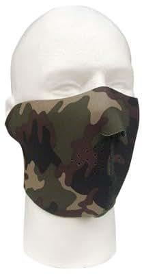 2201 Reversible Woodland Camo Half Face Mask (Adj)