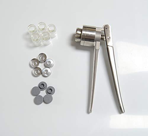 DM-20 Manual Crimper Sealing Jaw Capping Machine Cap Bottle Sealing Machine for Xilin Bottle CapperCrimper for Crimping 20mm Aluminum +5 Vials&Stopper&Caps (Crimper 20mm)