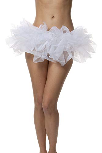 (BellaSous Adult Poofy Tutu for Holiday Costume, Princess Tutu, Ballet Tutu, Dance Outfit, or Fun Run White)