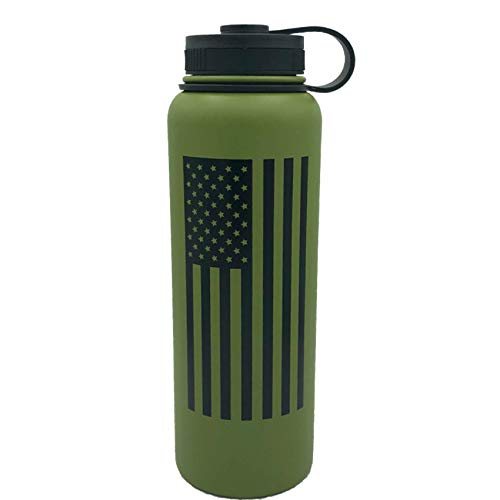 - Fit For Freedom American Flag 40oz Double Wall Vacuum Insulated Stainless Steel Leak Proof Sports Water Bottle, Wide Mouth with BPA Free Flex Cap (Olive Green)