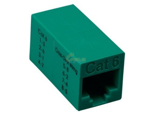 - Cablelera Inline Coupler Crossover Cat6, RJ45 Female to RJ45 Female, Green Color (ZNWN3066-XV)
