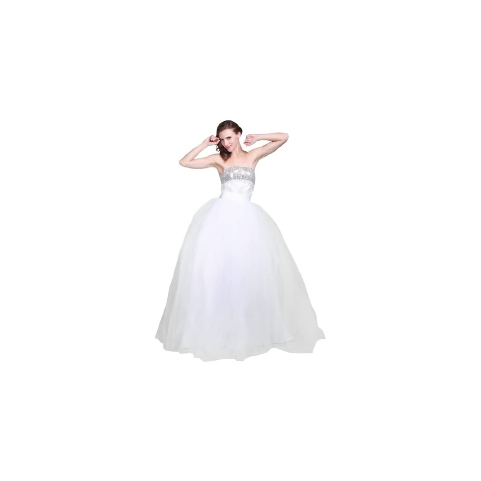 Topwedding Strapless Sequined Bodice Tulle Ball Gown Wedding Dress