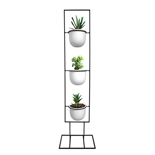 Cheap Indoor Metal Vertical Plant Stand with 3 White Ceramic Pots | Iron Flower Pot Holder Rack | Outdoor Decor | Potted Steel Planter Garden Container Display | 23 Bees