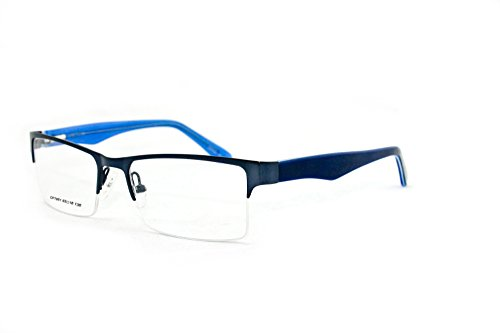 Newbee Fashion - Slim High Quality Metal Half Frame Prescription Only Glasses with Spring - Prescription Written On Glasses
