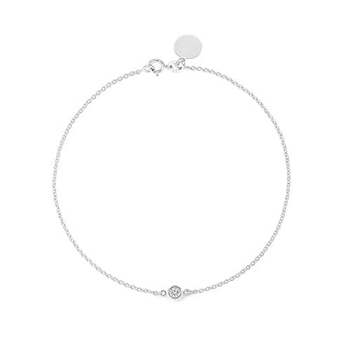 TousiAttar Solitaire Diamond Bracelet - Solid White Gold-14K or 18K - Dainty and Simple Solitaire Bezel Set - Free Engraving - Graceful Gift- Minimalist (18k Vs1 Bracelet)
