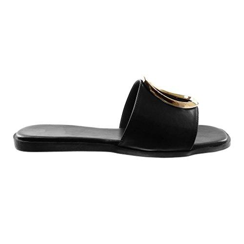 CM on Sandale Mode Plat Perforée Doré Chaussure Slip Femme Noir Talon Mule 1 Angkorly X7q4wnCn