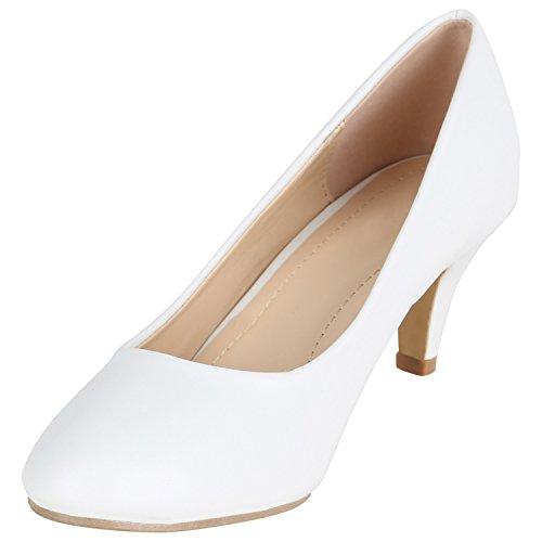 Stiefelparadies Klassische Damen Pumps Stiletto Absatzschuhe Mid Heels Party Schuhe Glitzer Abendschuhe Abiball Flandell Weiss Avelar
