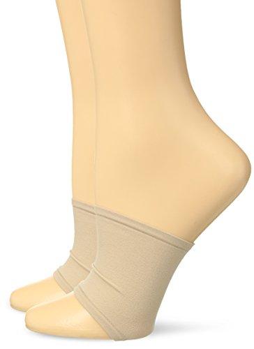 HUE Women's Open Toe Slide Sandal Liner Sock, 2 Pair Pack, Cream, One Size ()