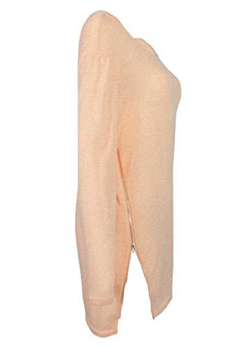 Cerniera Parte Casual In Albicocca Le Collo Manica Vestiti Dazosue Giro Lunga Donne Vestono AnRFzqa