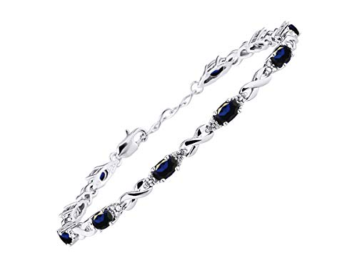 - Stunning Blue Sapphire & Diamond XOXO Hugs & Kisses Tennis Bracelet Set in Sterling Silver - Adjustable to fit 7