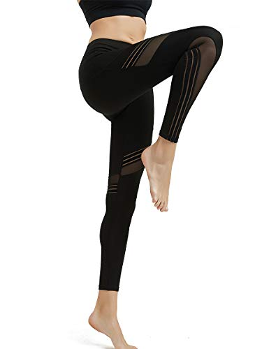MCEDAR Women's Mesh Sport Yoga Leggings High Waist Workout Pants Tights for Running Jogging Gym (XXL, Black #1)