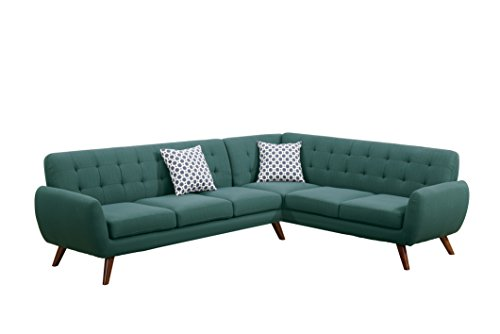 Poundex Bobkona Galiana Linen-Like Polyfabric SECTIONAL in Laguna