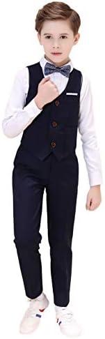 男の子のVest スーツ ボーイズスーツ4ピーススリムフィッ,ベスト、ズボン、シャツ、ボウタイ