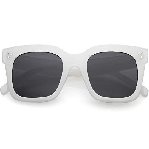 zeroUV - Bold Flat Lens Oversized Square Frame Horn Rimmed Sunglasses 50mm (Frost White/Smoke)