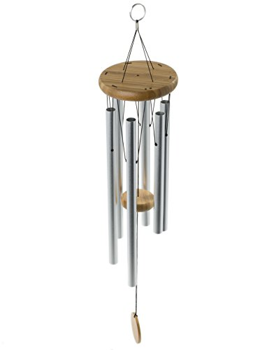 Brooklyn Basix Freedom Chime for Patio, Garden, Terrace and Balcony - Beautiful Outdoor Decor - Easy to Install Wind Chimes - Durable and Hand Tuned (Natural/Matte Silver, Medium 29