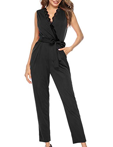 FANCYINN Women's Wrap Jumpsuit with Pockets V Neckline with Lace Trim Waist Tie Tailored Style Sleeveless Romper Black XL (Wrap Jumpsuit)