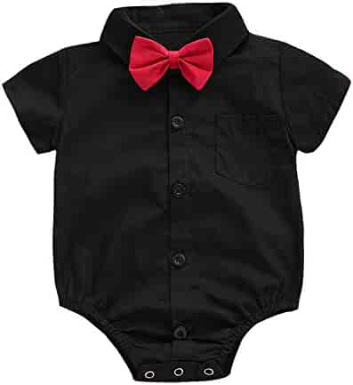 58b41807e ROMPERINBOX Infant Baby Boys Dress Shirt Bodysuit Formal Short Long Sleeve  Rompers for Wedding Party