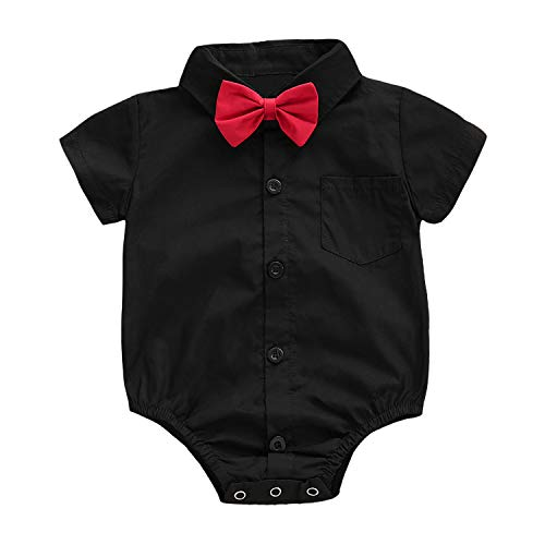 ROMPERINBOX Infant Baby Boys Dress Shirt Bodysuit Formal Short Long Sleeve Rompers for Wedding Party (Black Short Sleeve, 12-18 Months)