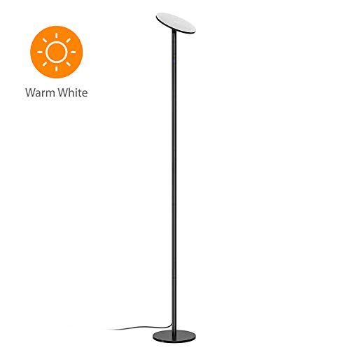 TROND LED Torchiere Floor Lamp Dimmable 30W, 3000K Warm White, 71-Inch Tall, Modular Rod Design, 30-Minute Timer, Wall Switch Compatible, for Living Room Bedroom Office, Black
