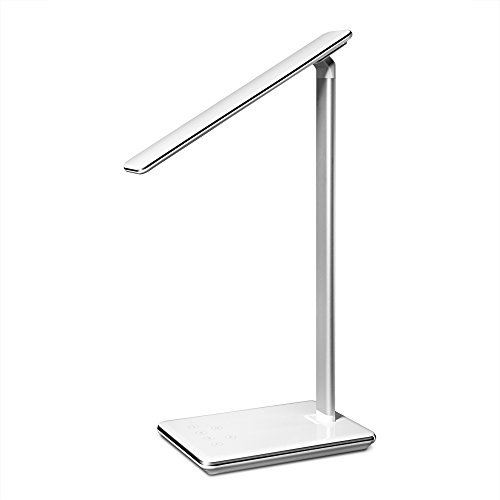 PiterNord LED Desk Dimmable Eye-Caring Lamp by with USB-charging port 5V/2A, 4 lighting modes, Memory function, Timer, Touch control, for Office, Bedside, Computer, Reading, Studying, White, 5W
