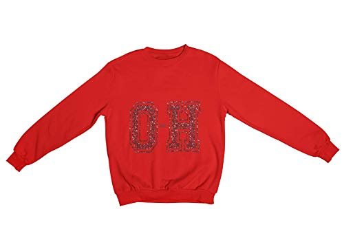 Oaiden Shimmer Collection O-H Crewneck Sweatshirt Unisex (Red/Red, Large)