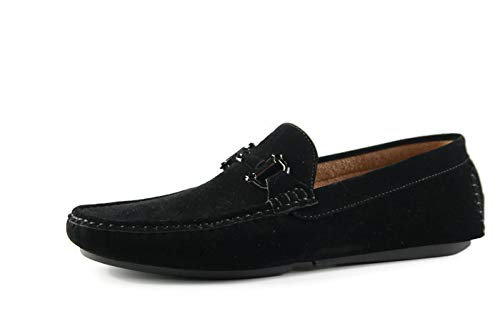 Martucci Men's Shoes Donatello Driver Suede Loafer With B it Strap ( 9.5 Black) from Martucci