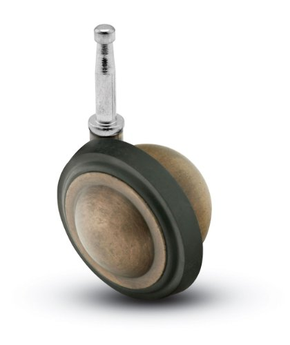 Shepherd-Nova-Series-2-14-Diameter-Rubber-Wheel-Caster-516-Diameter-x-1-12-Length-Grip-Neck-Stem-75-lbs-Capacity-Windsor-Antique-Finish