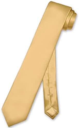 Biagio 100% SILK Narrow NeckTie Skinny GOLD Color Men's 2.5