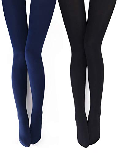 Gift Box Team Lined (VERO MONTE 2 Pairs Womens Opaque Warm Fleece Lined Tights (BLACK + NAVY) 460411)