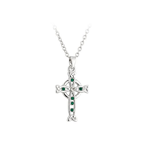Tara Celtic Cross Necklace Rhodium Plated and Crystal Made in Ireland