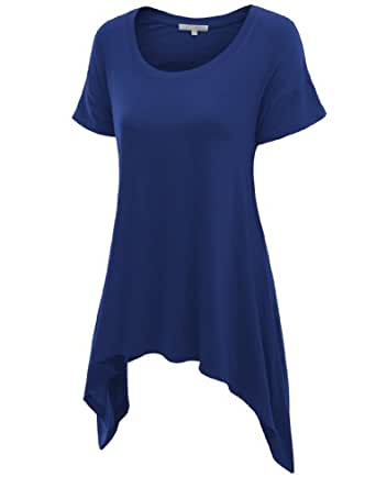 Doublju Basic Short Sleeve Long Asymmetrical Tunic Tops For Women With Plus size BLUE SMALL